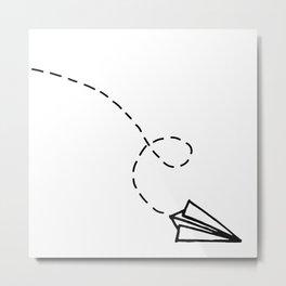 Send It // Simple Paper Airplane Drawing Metal Print