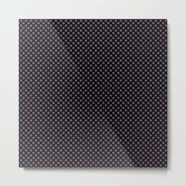 Black and Vintage Violet Polka Dots Metal Print