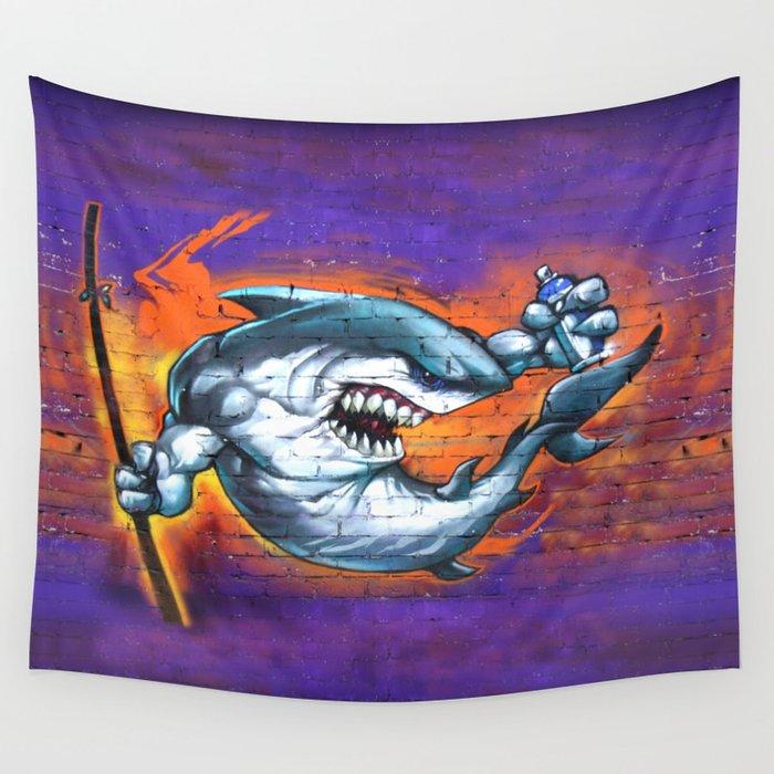 Graffiti Shark Wall Tapestry