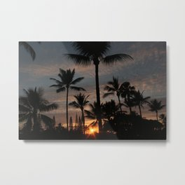 Hawaiian Sunset - Kailua-Kona, Hawaii, HI Metal Print