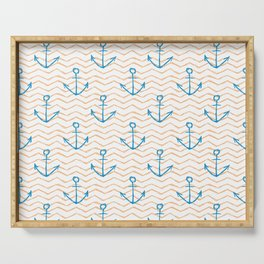 Anchors and waves Serving Tray