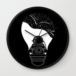 Space Odyssey | Lightbulb | Astronaut | Black and White | Cosmos | Stars | Galaxy | pulp of wood Wall Clock