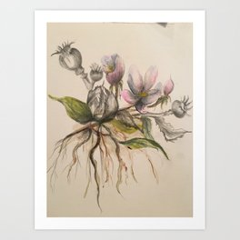Thistel and Flowers Art Print