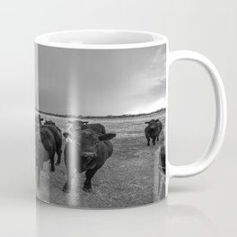Hanging Out - Black and White Photo of Cows in Kansas Coffee Mug