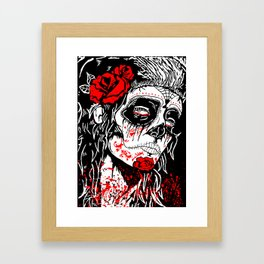 Girl With Sugar Skull, Day of the Dead Framed Art Print