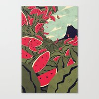 watermelon Canvas Prints featuring Watermelon surf dream by Yetiland