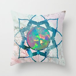 Psychedelic Crystal Lotus 2 Throw Pillow