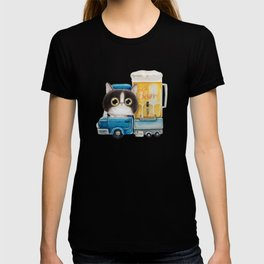 A cat in a beer truck T-shirt