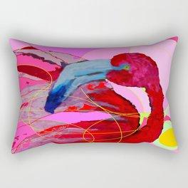 Contemporary Abstracted Tropical Flamingo Art Rectangular Pillow