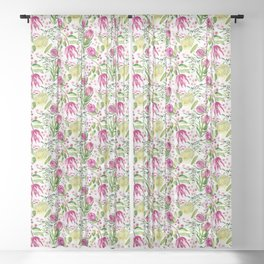 Protea Flower Bloom Sheer Curtain