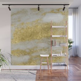 Marble - Glittery Gold Marble and White Pattern Wall Mural