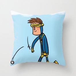 Cyclops Loves Baseball Throw Pillow