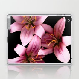 Pretty Pink Ant Lilies, Flowers Scanography Laptop & iPad Skin