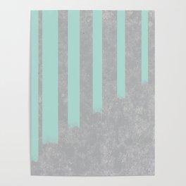 Soft cyan stripes on concrete Poster