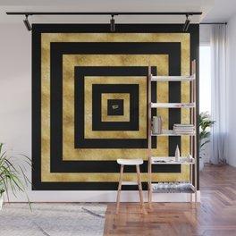 ART DECO SQUARES BLACK AND GOLD #minimal #art #design #kirovair #buyart #decor #home Wall Mural