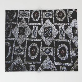 Black White Blue Red Mosaic Print Throw Blanket