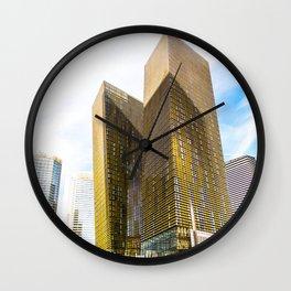 twin yellow buildings at Las Vegas, USA Wall Clock