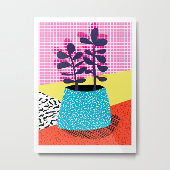 Shibby - neon 80's throwback potted plant indoor garden pink yellow red grid memphis los angeles pal Metal Print