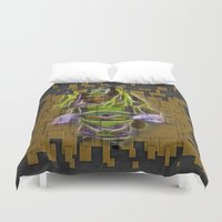 theatre Duvet Covers featuring Chinese Theatre Actor In Pieces by Lucia