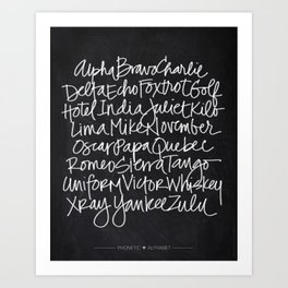 Chalkboard Art - Phonetic Alphabet Art Print