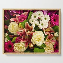 Bouquet Of Flowers Serving Tray