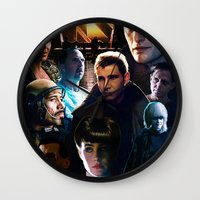 blade runner Wall Clocks featuring Blade Runner by Saint Genesis