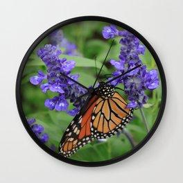 Purple Flowers & Butterfly Wall Clock