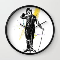 charlie chaplin Wall Clocks featuring charlie chaplin 05 by manish mansinh