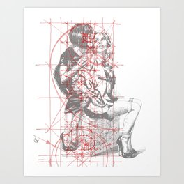 Couple in Red Lines. Sweet Fantasy. Art Print