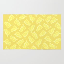 Yellow Easter chicken pattern Rug