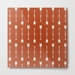 Burnt Orange & White Arrows  Metal Print