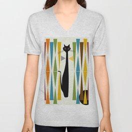 Mid-Century Modern Art Cat 2 Unisex V-Neck
