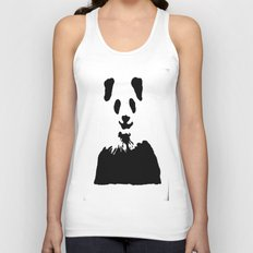 Pandas Blend into White Backgrounds Unisex Tank Top