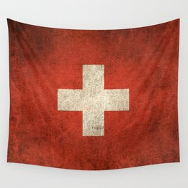 Old and Worn Distressed Vintage Flag of Switzerland Wall Tapestry