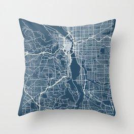 Portland Blueprint Street Map, Portland Colour Map Prints Throw Pillow