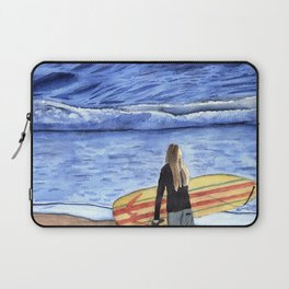 Girl with Surfboard Standing on the Beach Laptop Sleeve
