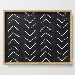 Mudcloth Big Arrows in Black and White Serving Tray