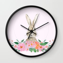 rabbit and pink camellia flower Wall Clock