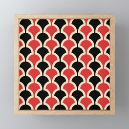 Classic Fan or Scallop Pattern 439 Black and Red Framed Mini Art Print