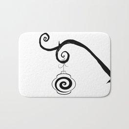 Burtonesque Branch with Ornament 4 / Black on White Bath Mat