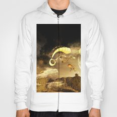 Mystical landscape with flying objects Hoody