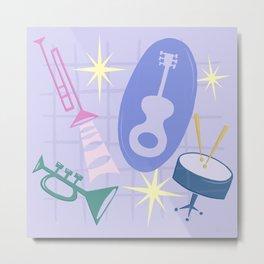 Django Jazz Composition In Purple Metal Print
