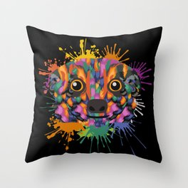 Meerkat Face Color Splashes Throw Pillow