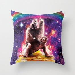 Space Cat Llama Sloth Riding Pancakes Throw Pillow