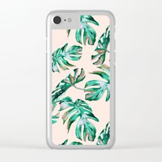 Tropical Palm Leaves Coral Greenery Clear iPhone Case