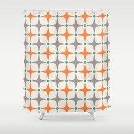 Mid Century Modern Star Pattern Grey and Orange Shower Curtain