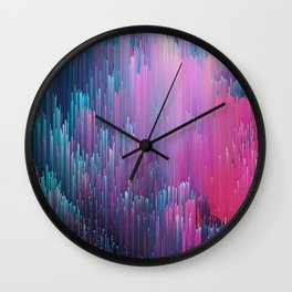 Bold Pink and Blue Glitches Wall Clock