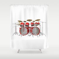 drum Shower Curtains featuring Red Drum Kit by PhantomLiving