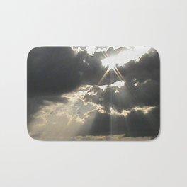 A Silver Lining // Clouds, Gray Art, Black & White Print, Storm Art Bath Mat