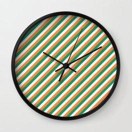 Irish Tricolour Candy Cane Stripes Green Orange and White Irish Flag Wall Clock